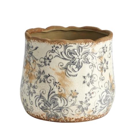 "7"" Tuscan Ceramic Gray Scroll Planter"
