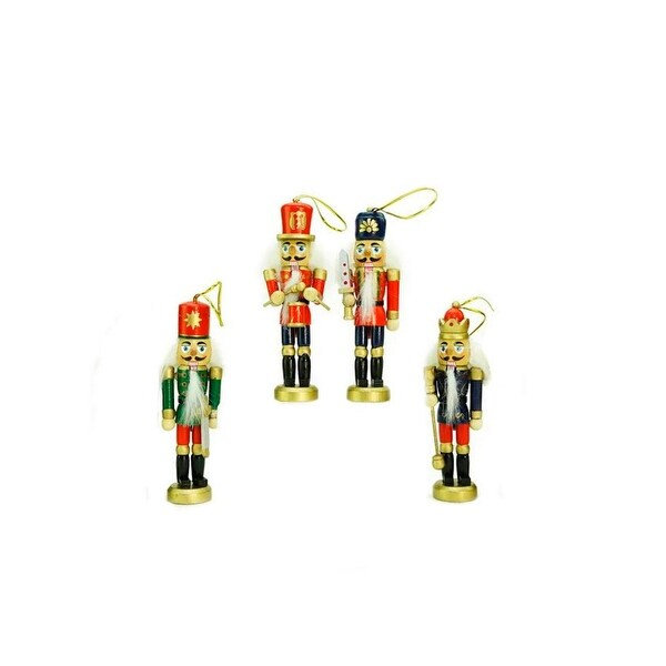 """Pack of 4 Red, Blue and Green Decorative Wooden Christmas Nutcracker Ornaments 5"""" - RED"""
