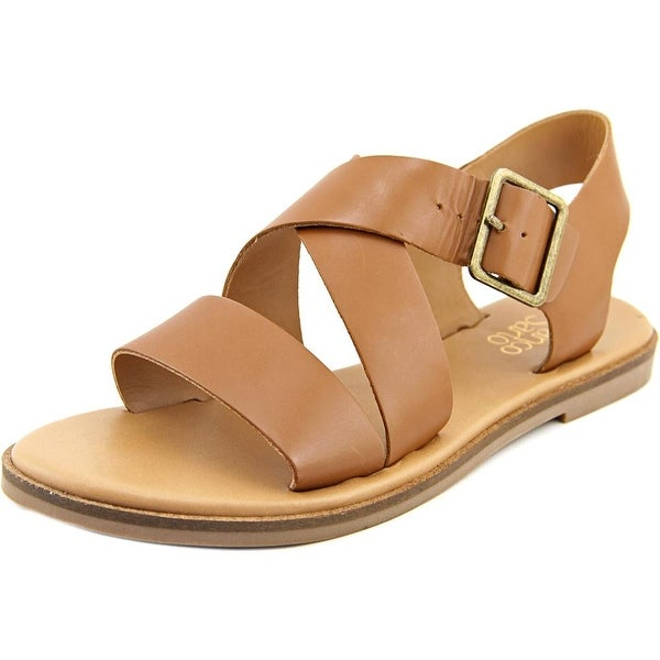 Franco Sarto Kara Women Open-Toe Leather Tan Slingback Sandal