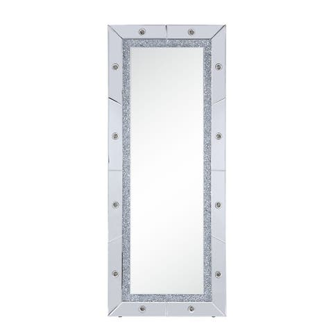 Faux Diamond Inlay Accent Floor Mirror with LED Light, Silver