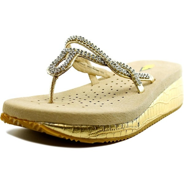 Volatile Pretzel Women  Open Toe Leather Gold Thong Sandal