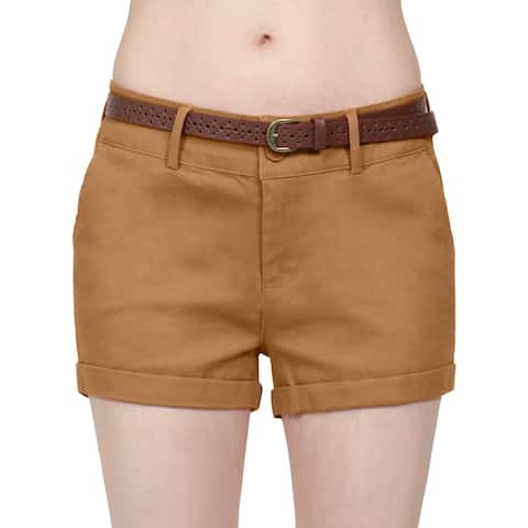 NE PEOPLE Womens Mid Rise Comfy Fitted Cuffed Hem Casual Shorts w/Belt [NEWP93]