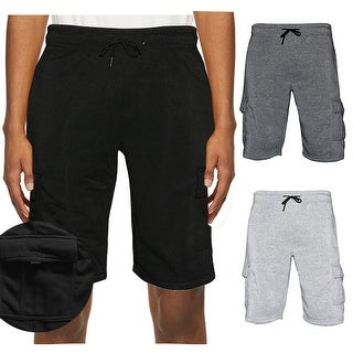 Details about  /Mens CARGO SHORTS Jogger Sweat Pants Fleece Gym Marled Active Drawstring Lounge