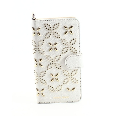 Michael Kors NEW Optic White Studded Folio Tab iPhone7 Plus Wallet Case