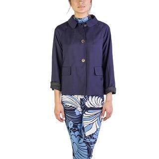 Miu Miu Women's Virgin Wool Three-Button Coat Navy