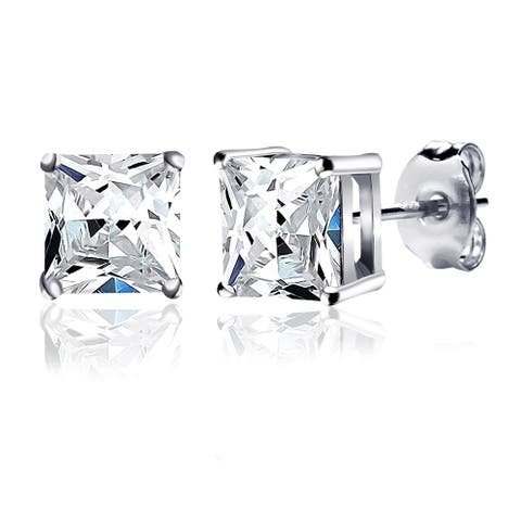 Sapphire, Cubic Zirconia Sterling Silver Square Stud Earrings By Orchid Jewelry