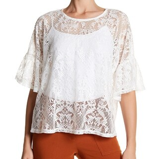 Bobeau White Womens Size Large L Sheer Lace Bell-Sleeve Blouse