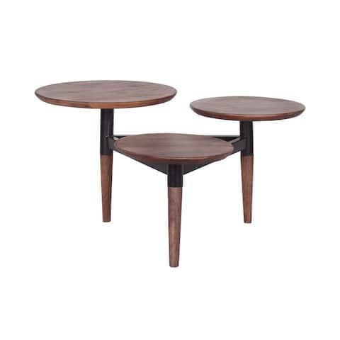 Chesley Triple Tiered Handmade Acacia & Iron Coffee Table