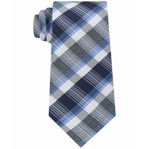 Kenneth Cole Reaction Men's Blue Jewel Plaid Striped Slim Neck Tie Silk