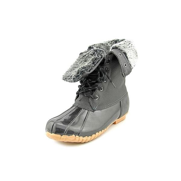 Sporto Daphne Women Round Toe Leather Black Snow Boot