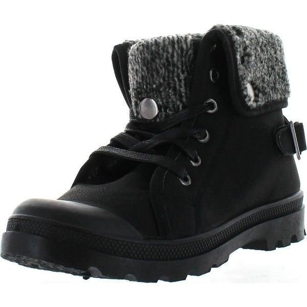 Refresh Casper-02 Women's Knit Fold Lace Up Buckle Strap Combat Ankle Booties - Black