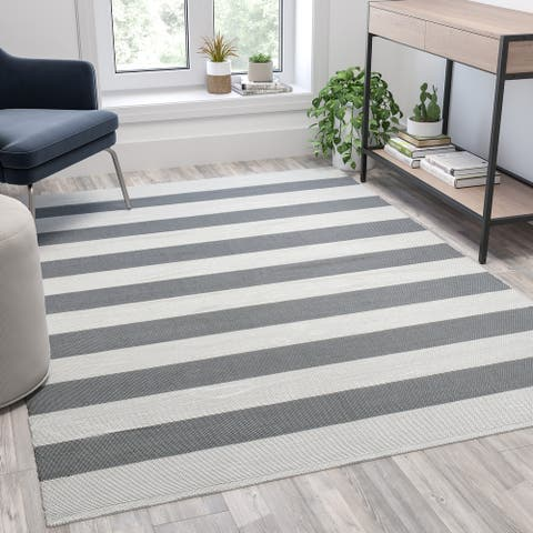 """Indoor/Outdoor Handwoven Striped Cabana Style Area Rug - 81.5""""W x 60""""D x 0.375""""H"""