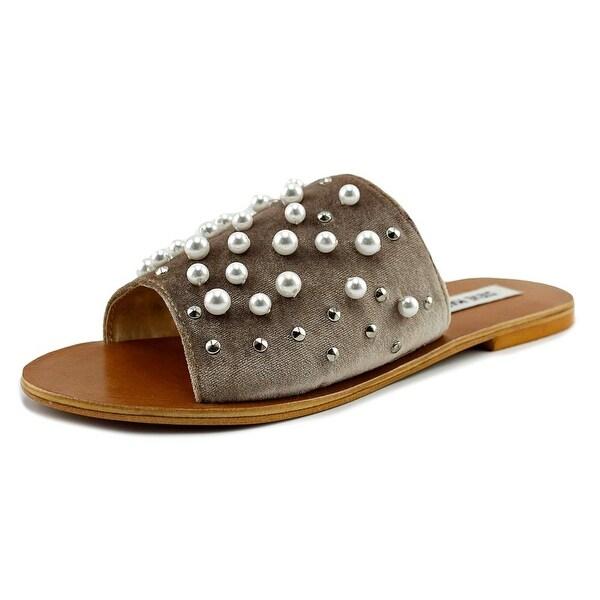 Steve Madden Denise Women Open Toe Canvas Gray Slides Sandal