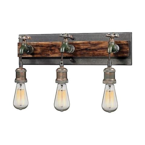 Three Light Steampunk Faucet Theme Vanity light - Industrial Style Bathroom Light with Rectangular