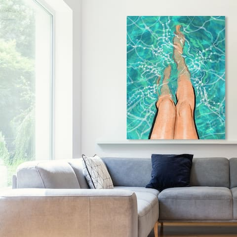 Oliver Gal 'Summer Legs' Fashion and Glam Wall Art Canvas Print - Blue, Brown