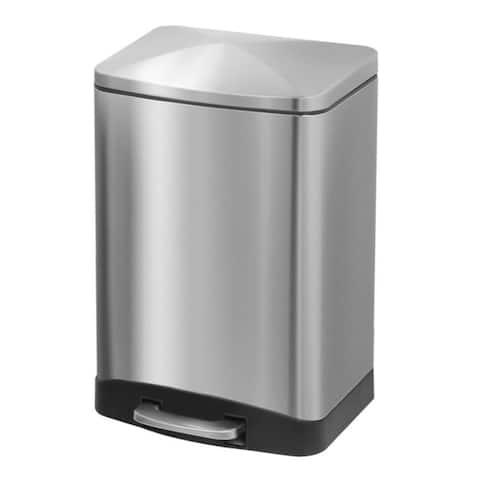 INNOVAZE 3.2 Gal./ 12-Liter fingerprint free brushed stainless steel rectangular step-on trash can