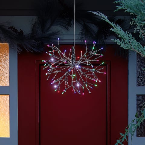 Alpine Corporation Large Christmas Multi-Colored Snowflake Ornament with LED Lights
