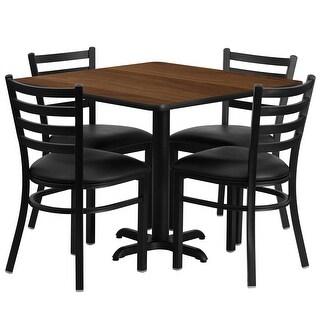 "Dyersburg 5pcs Table Set Square 36"" Walnut X-Base, Black Metal Chairs"