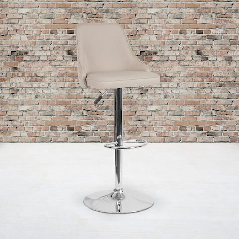 """2PK Adjustable Height Barstool in LeatherSoft - Kitchen Furniture - 18""""W x 19""""D x 35.75"""" - 44.25""""H"""