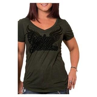 Harley-Davidson Women's Bagger Winged H-D Short Sleeve V-Neck Tee, Olive Green