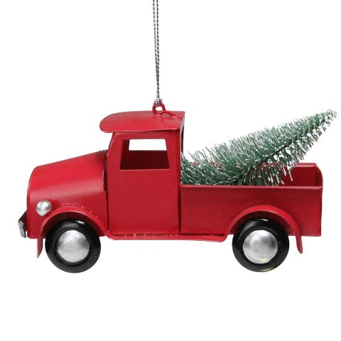 "5"" Red Vintage Truck with Frosted Tree Christmas Ornament"