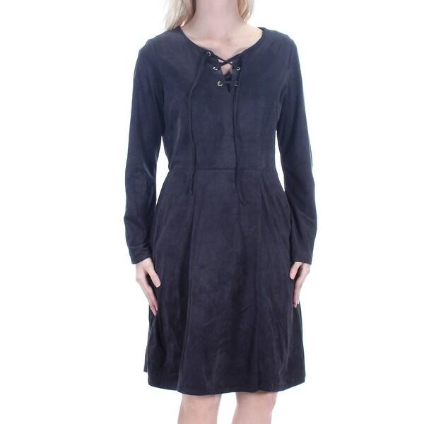 Shop Womens Black Long Sleeve Knee Length Dress Size S On Sale