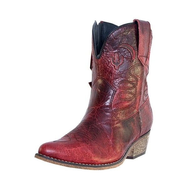 Dingo Fashion Boots Womens Adobe Rose Zip Red Distressed DI 695