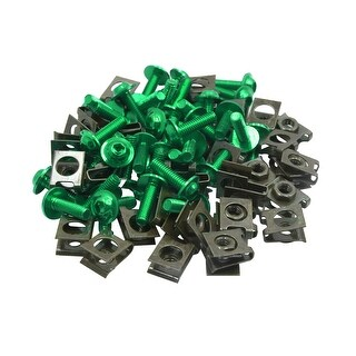 40pcs Metal M6 U Type Rivets Motorcycle Fasteners Clips W Green Bolts Screws