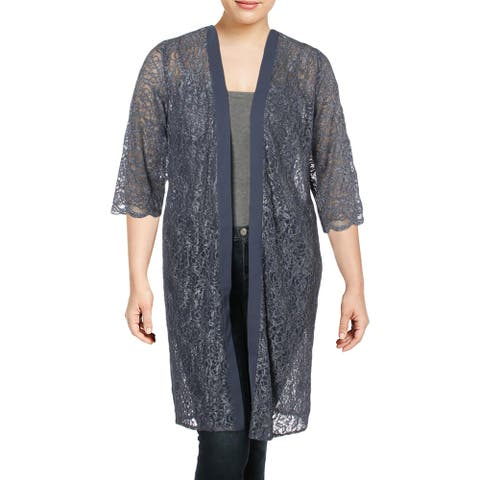 Alex Evenings Womens Plus Duster Top Lace Glitter