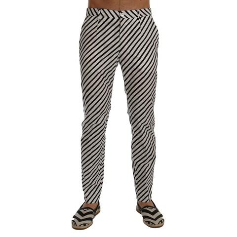Dolce & Gabbana Dolce & Gabbana White Black Striped Cotton Slim Fit Pants