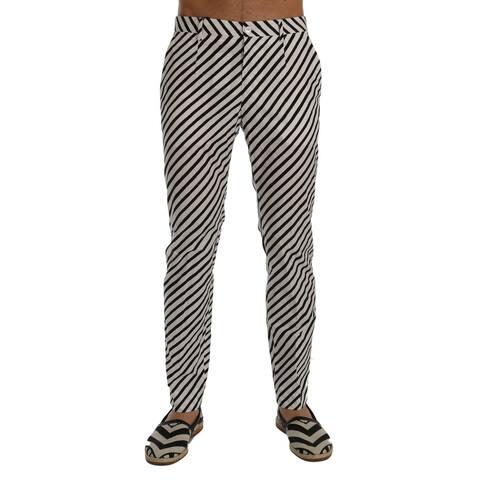 Dolce & Gabbana White Black Striped Cotton Slim Fit Men's Pants