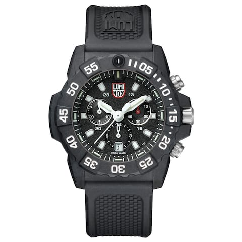 Luminox Men's XS.3581 Navy Seal 45mm Chrono with White Accents Black Rubber Strap Watch