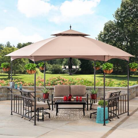 Sunjoy 11 ft. x 13 ft. Brown Steel Hexagon Gazebo