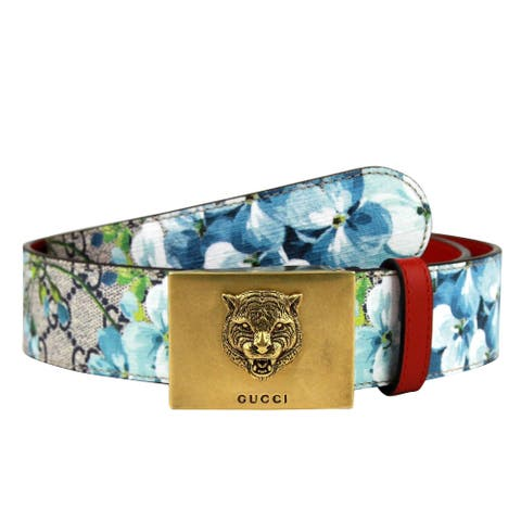 Gucci Unisex Gold Tiger Blue GG Supreme Coated Canvas Bloom Print Belt Buckle 434559 8492 (80 / 32)