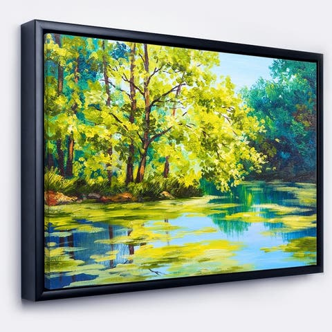Designart 'Blue Lake Under Green Tree' Landscape Painting Framed Canvas Print