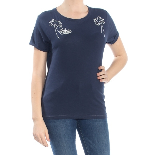 LUCKY BRAND Womens Navy Embroidered Graphic Short Sleeve Crew Neck T-Shirt Top Size: M
