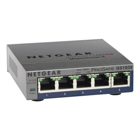 NetGear GS105E-200NAS 5-Port Gigabit Ethernet Smart Managed Plus Switch 5-port Gigabit Ethernet Smart Managed Plus Switch