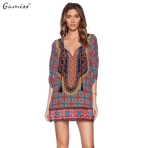 4eff33c4996cf Gamiss Summer Dresses Women Vintage Ethnic Dress Brand Baroque Style Floral  Print Beach Shift Dress Boho Hippie Dress Vestido