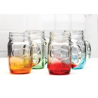 Palais Glassware® Mason Jar Tumbler Mug with Handle - 17.5 Ounces - Set of 4 (Bottom Sprayed Green/Blue/Orange/Red)
