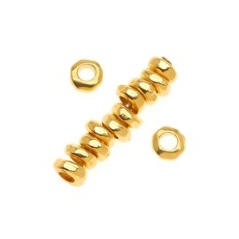 TierraCast 22K Gold Plated Pewter Nugget Heishe Spacer Beads 5mm (12)