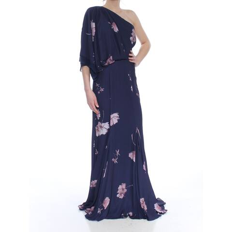 FAME AND PARTNERS Navy Kimono Sleeve Full-Length Dress 0