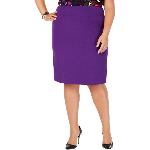 Kasper Womens Zip-Back Pencil Skirt, Purple, 16W. Opens flyout.