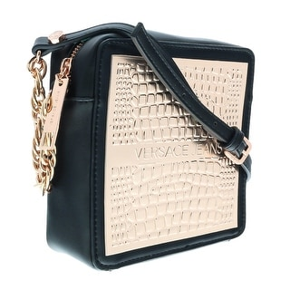 Versace EE1VOBBP4 EMGL Black/Rose Gold Crossbody Bag - Black/Rose Gold - 6.5-6.5-2.5