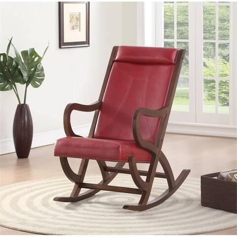 "ACME Triton Rocking Chair in Burgundy PU & Walnut - 8'6"" x 11'6"" - 8'6"" x 11'6"""