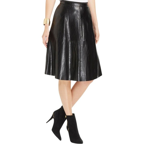 Vince Camuto Womens A-Line Skirt Faux Leather Knee-Length