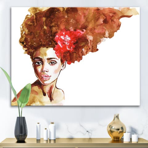 Designart 'Portrait of Young African American Woman II' Modern Canvas Wall Art Print