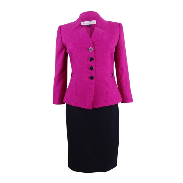 Tahari ASL Women's Herringbone Colorblocked Skirt Suit (16, Magenta/Black) - Magenta/Black - 16