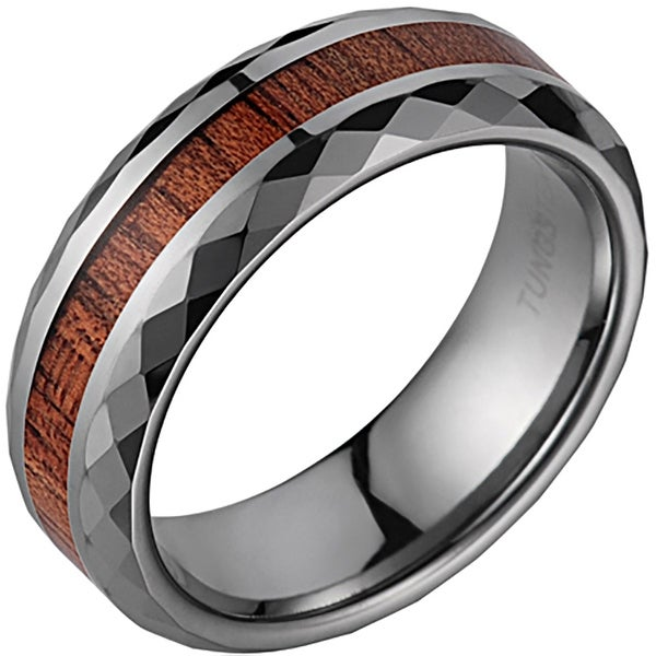 Tungsten Wedding Band With Koa Wood Inlay & Faceted Edges 7mm