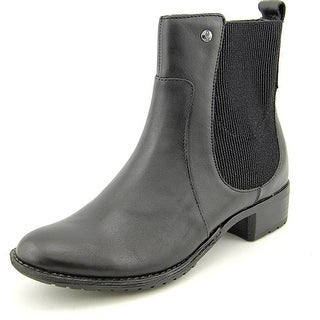 Hush Puppies Lana Chamber Women Round Toe Leather Black Ankle Boot