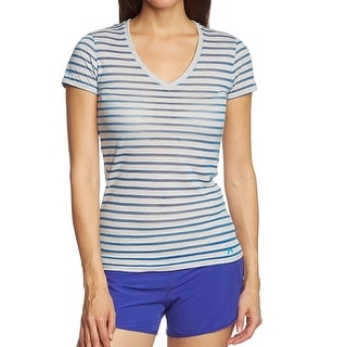 Under Armour NEW Blue Womens Size Small S Striped-Mesh Tee T-Shirt